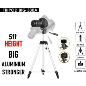 330A - Tripod Stand For DSLR- Camera,Android and iphones With Mobile Holder - RHIZMALL.PK Online Shopping Store.