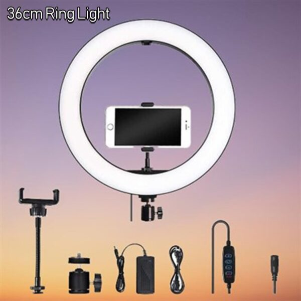 36cm New Selfie Ring Light with Tripod Stand & Cell Phone Holder for Live Stream Circle Lighting Ringlights - RHIZMALL.PK Online Shopping Store.