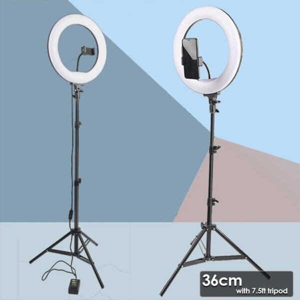 Selfie Ring Light with Tripod Stand & Cell Phone Holder for Live Stream Circle Lighting Ringlights - RHIZMALL.PK Online Shopping Store.