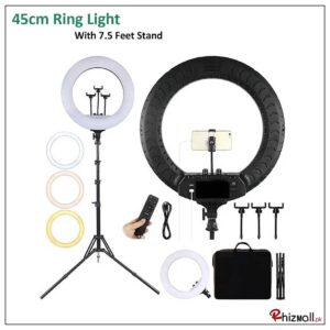 45cm Ring Light With Tripod Stand & 3 Mobile Phone Holders, Two Hot Shoe Ports, 2700K-6500K Color Adjustment Range