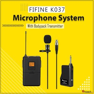 FIFINE K037 20-Channel UHF Wireless Lavalier Lapel Microphone System with Bodypack Transmitter