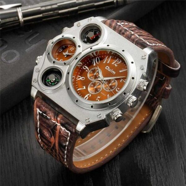 Oulm Two Time Zone Big Size Watch - RHIZMALL.PK Online Shopping Store.