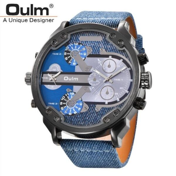 Oulm Big Size Multiple Time Zone Watch - RHIZMALL.PK Online Shopping Store.
